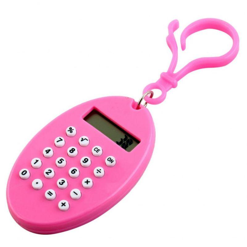 Брелок 8-разрядный калькулятор Овал, цвет розовый