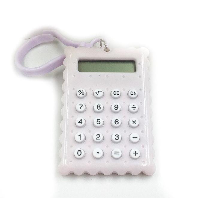 Брелок 8-разрядный калькулятор Печенька, цвет белый