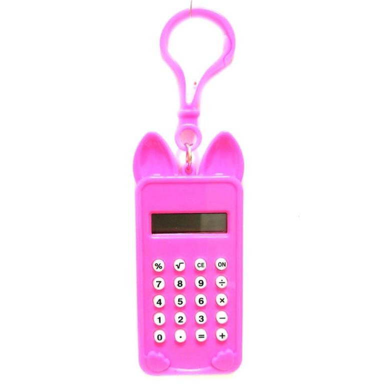 Брелок 8-разрядный калькулятор Мышка, цвет розовый