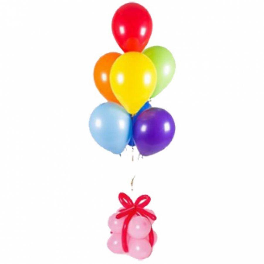 Фонтан с подарком из воздушных шаров