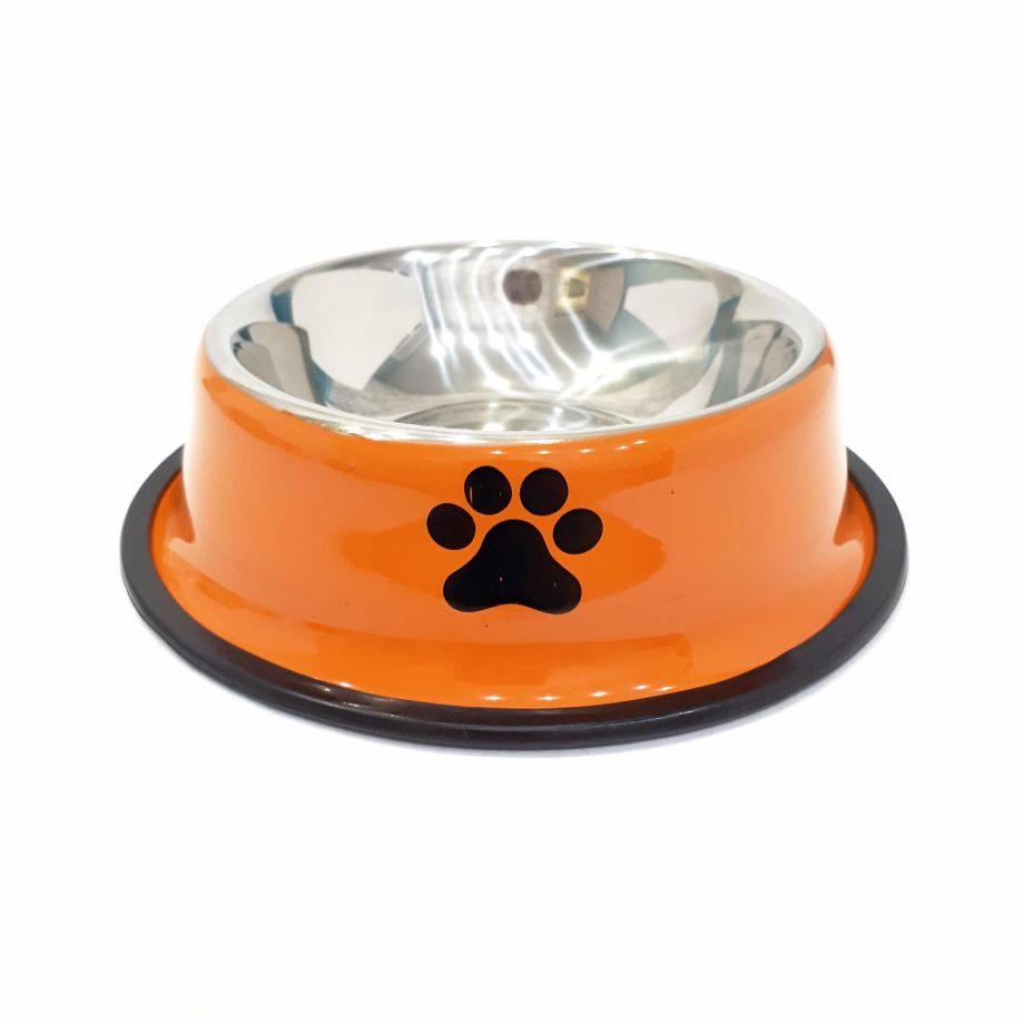 Металлическая миска с прорезиненным основанием Лапки, 500 мл, Цвет Оранжевый