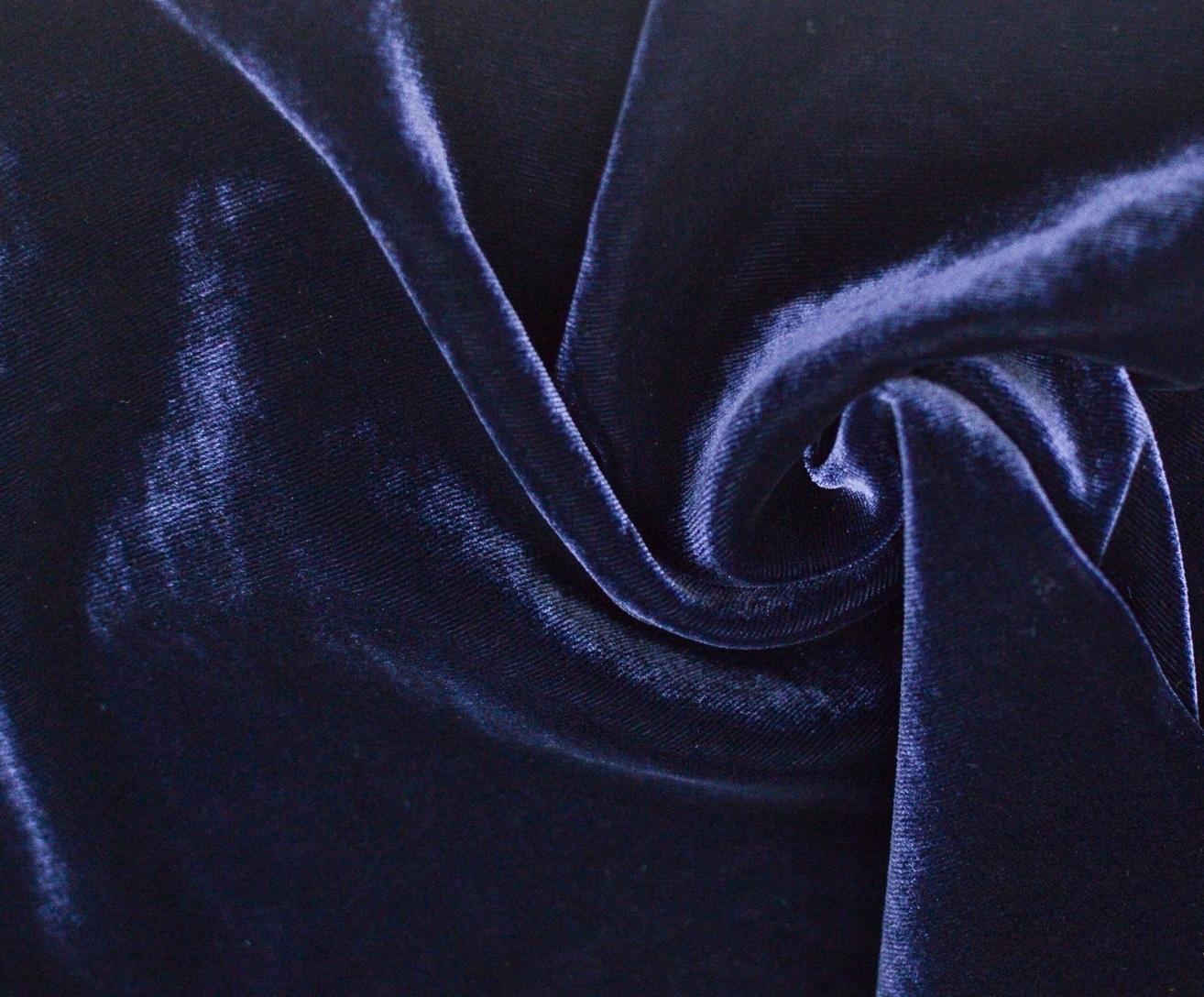 Бархат синий: Вискоза 58%, Шелк 40%, Эластан 2%