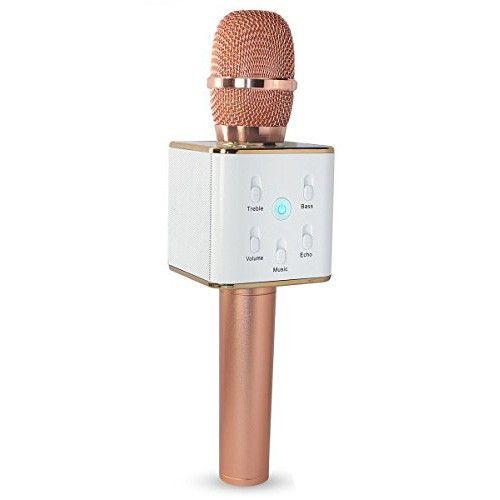 Беспроводной караоке микрофон Q7, золотисто-розовый
