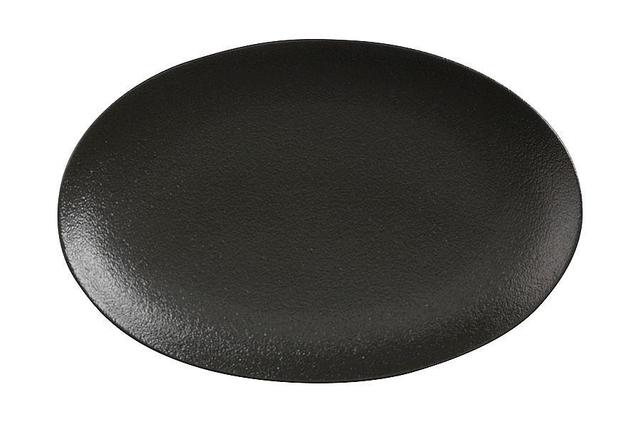 """Тарелка овальная малая (чёрная) """"Икра"""", 25х16 см"""