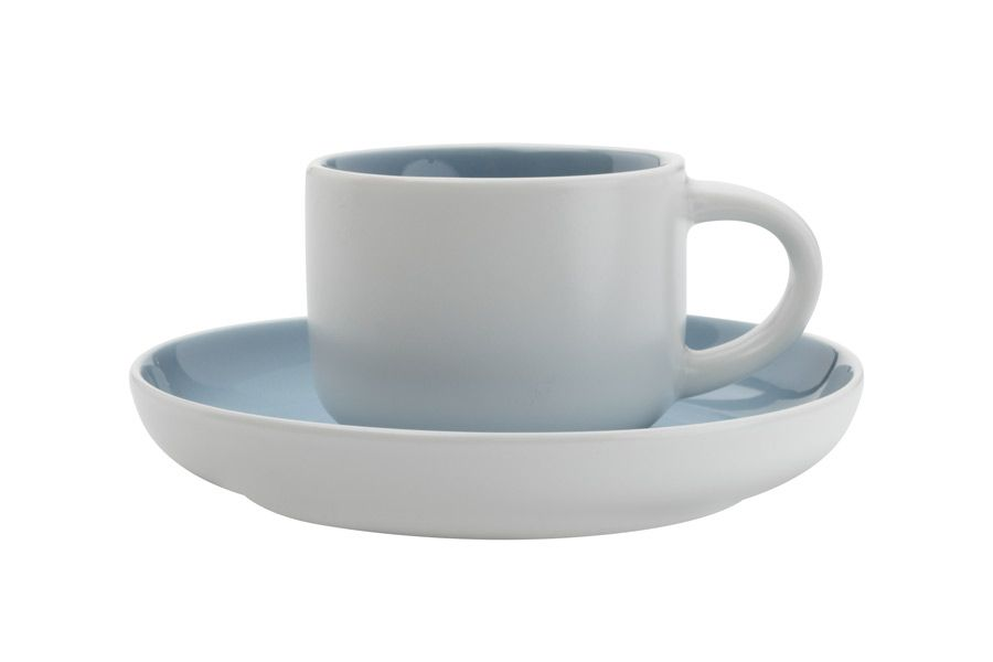"""Чашка кофейная с блюдцем """"Оттенки (голубая)."""", 0.1 л"""