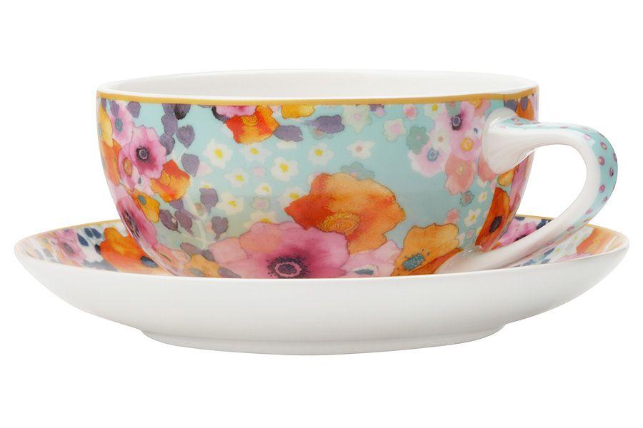 """Чашка с блюдцем (голубая) """"Цветы"""", 0.25 л"""