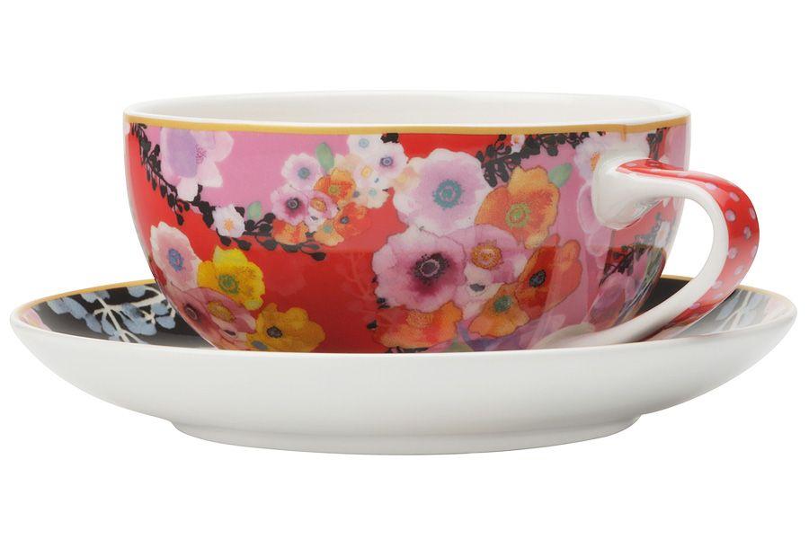 """Чашка с блюдцем (красная) """"Цветы"""", 0.25 л"""