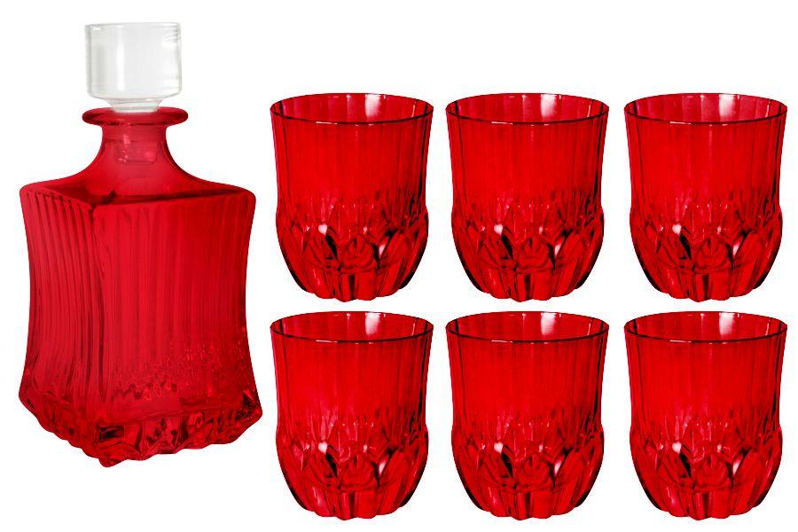 "Набор для виски: штоф + 6 стаканов ""Адажио - красная"", 0.6 л/0.3 л"