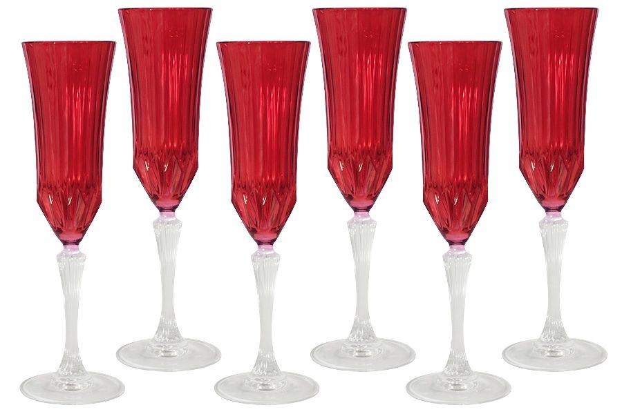 """Набор бокалов для шампанского """"Адажио - красная"""", 6 шт., 0.15 л"""
