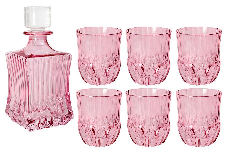 """Набор для виски: штоф + 6 стаканов """"Адажио - розовая"""", 0.6 л/0.3 л"""