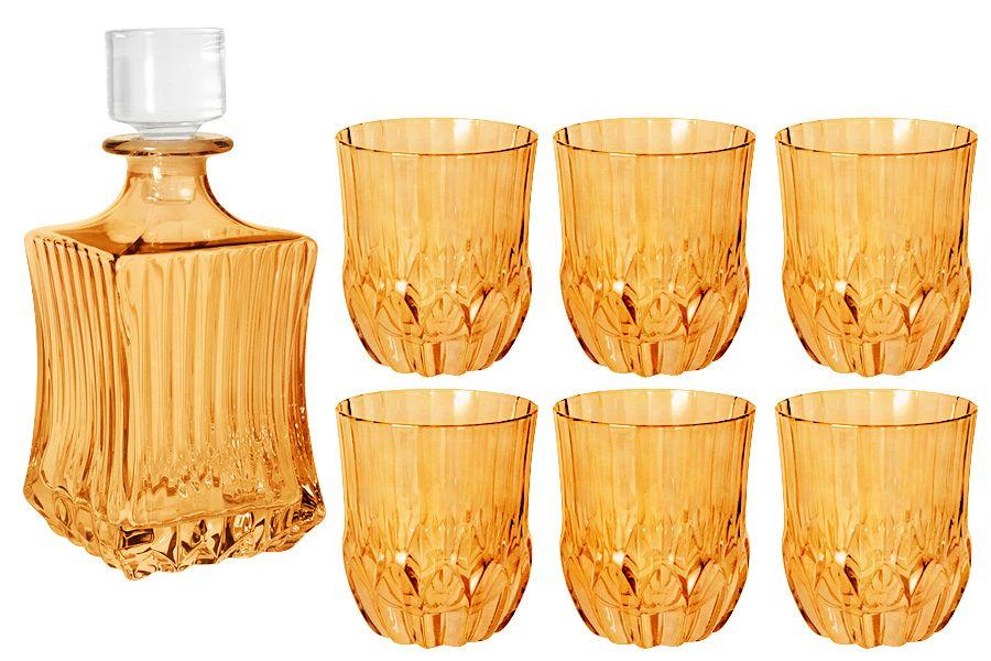 """Набор для виски: штоф + 6 стаканов """"Адажио - янтарная"""", 0.6 л/0.3 л"""
