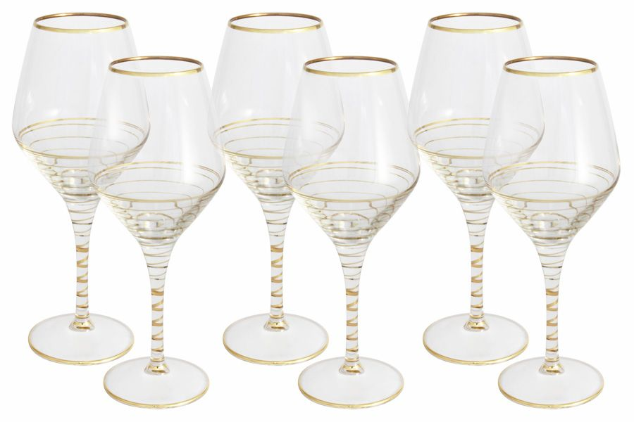 """Набор бокалов для вина """"Спираль"""" (золото), 6 шт., 0.45 л"""