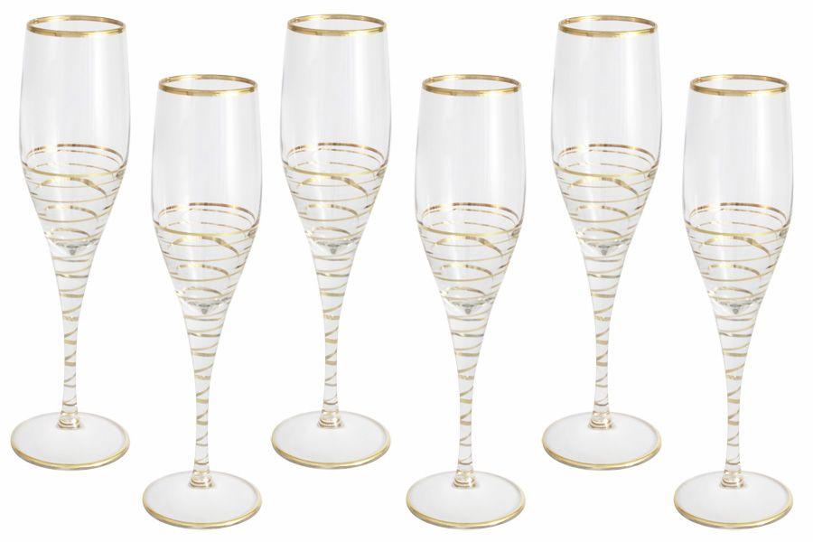 """Набор бокалов для шампанского """"Спираль"""" (золото), 6 шт., 0.2 л"""