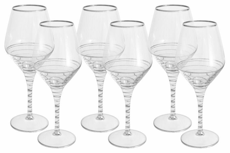 """Набор бокалов для вина """"Спираль"""" (серебро), 6 шт., 0.45 л"""