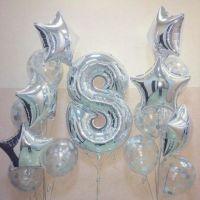 Композия из шаров серебро на День рождения