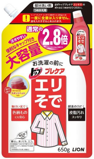 Lion Жидкий пятновыводитель Top для стирки воротничков, рукавов, отстирывающий въевшуюся грязь устраняет запах мягкая упаковка 650 г