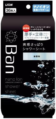 Lion Дезодорант-антиперспирант нано-ионный для всего тела в форме салфеток Refresh Shower Sheets без запаха 36 шт