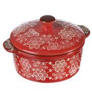 MILLIMI Горшочек с крышкой для запек. и сервировки, керамика, 15,5х13,5х6см, 500мл, красный, новая