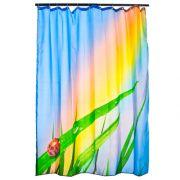 """VETTA Шторка для ванной, ткань полиэстер с утяжелит, 180x180cм, фотопечать, """"Трава-радуга"""" Дизайн GC"""