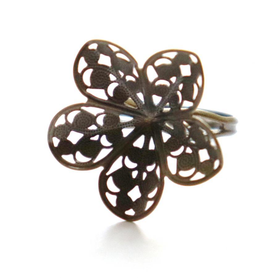 Основа для кольца, Ажурный цветок, цвет бронза, рег. размер, 1 шт/упак