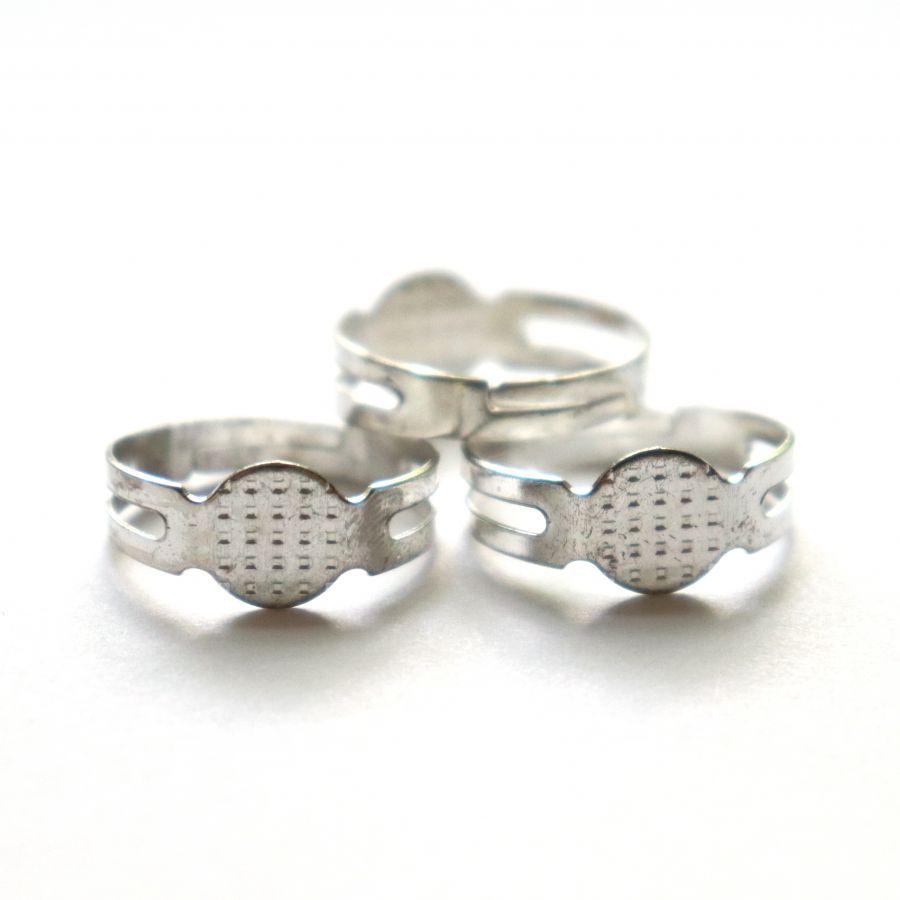 Основа для кольца, простая, цвет светлое серебро, 3 шт/упак