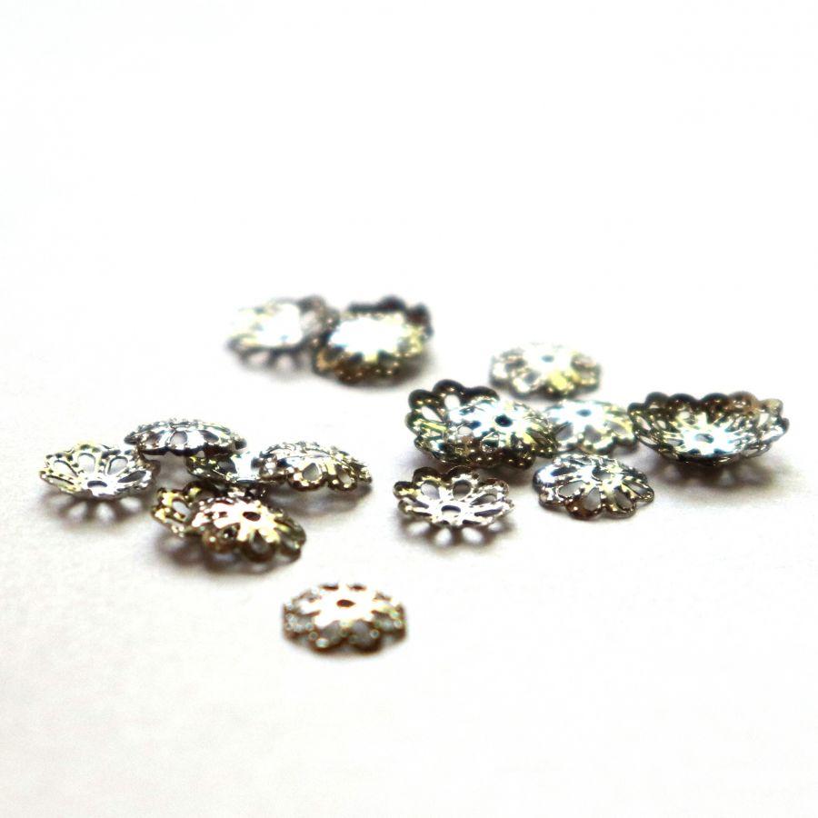 Шапочки для бусин, чеканное серебро, 6 мм, 20 шт/упак