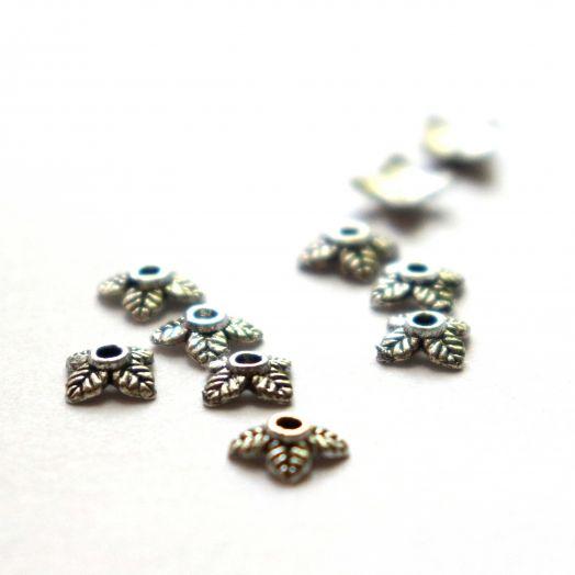 Шапочки для бусин 4 листочка, литая, тиб.серебро, 8 мм, 20 шт/упак
