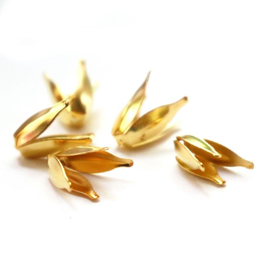 Шапочки для бусин, тюльпан, цвет золото, 10 шт/упак