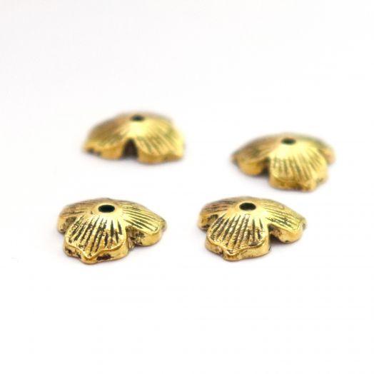 Шапочки для бусин, № 60, литое стар.золото, 12 мм, 4 шт/упак