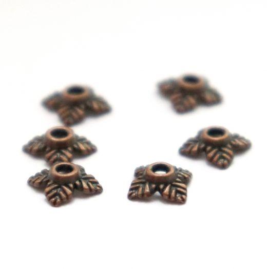 Шапочки для бусин, 4 листочка, старая медь, 8 мм, 10 шт/упак