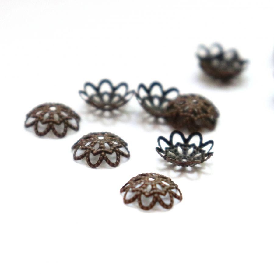 Шапочки для бусин, цветок, старая медь, 10 мм, 30 шт/упак