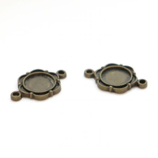 Рамка сеттинг, №6, Коннектор, 2 петли, старая бронза, 2 шт/упак