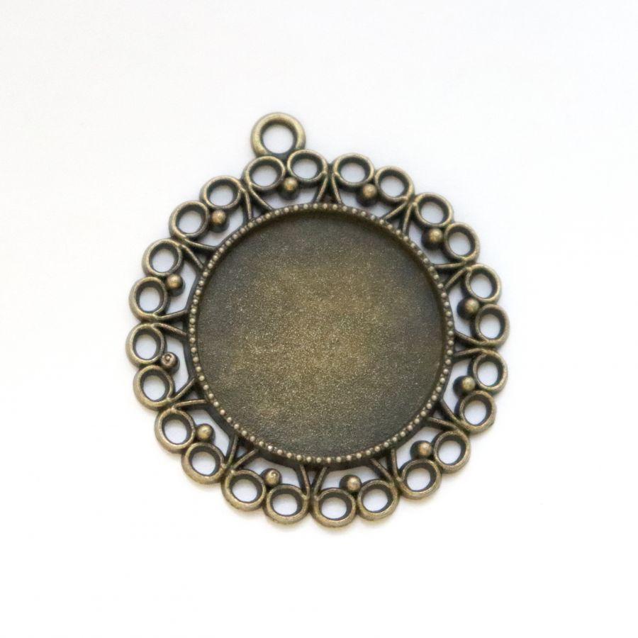 Рамка сеттинг, №4, круг с петлей, ажурный, старая бронза, 1 шт/упак