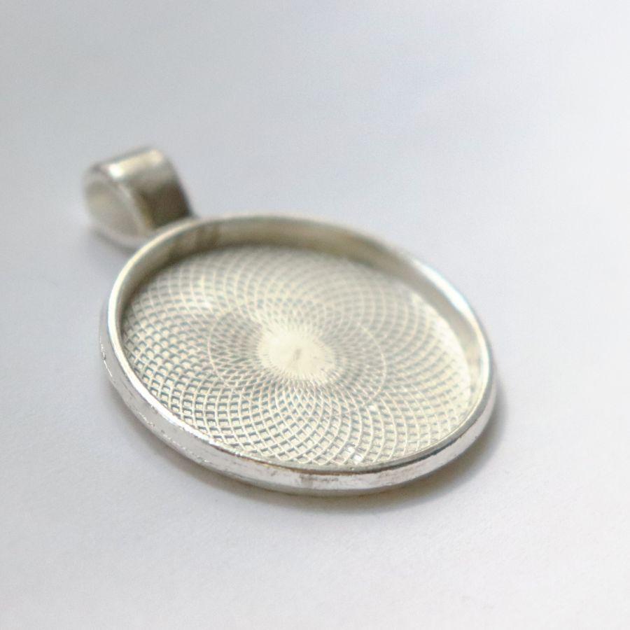 Рамка сеттинг, №3, Круг, литая, светлое серебро, 1 шт/упак