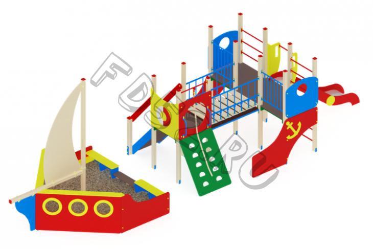 Детский игровой комплекс                           Парусник Горка 1200                                           10490х2900х3500