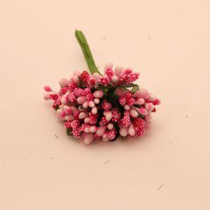 Тычинки в связках перламутровые, цвет - светло-розовый/фуксия, 1уп = 6 связок (1 связка = 11-12 букетиков)