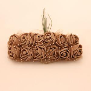 `Цветы из фоамирана с органзой, 25 мм, 11-12 цветков, цвет: кофе
