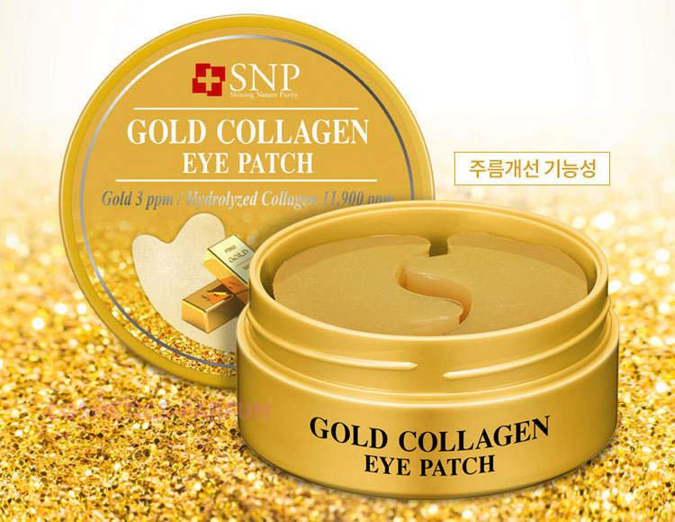 SNP Gold Collagen Eye Patch - Гидрогелевые патчи для глаз с коллагеном и коллоидным золотом, 60 шт.