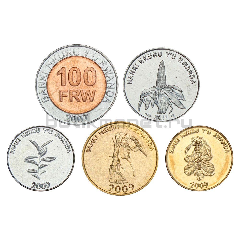 Набор монет 2007-2011 Руанда (5 штук)