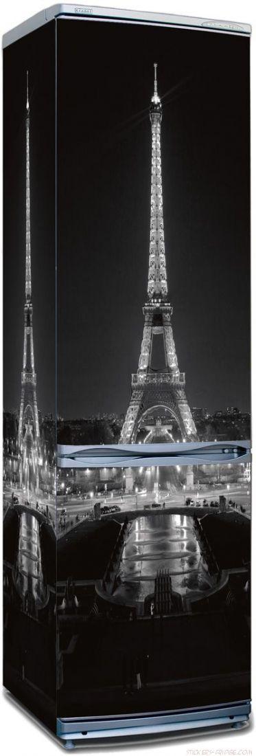 Наклейка на холодильник -  Париж ночь