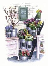 Почтовая открытка Цветочная лавка