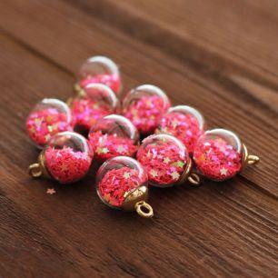 Кукольный аксессуар Бусина-подвеска c ярко-розовыми звездами