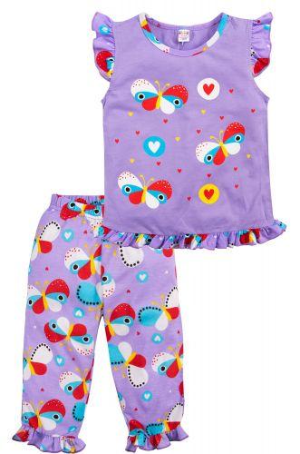 Пижама для девочек 3-7 лет Bonito фиолетовая с бабочками