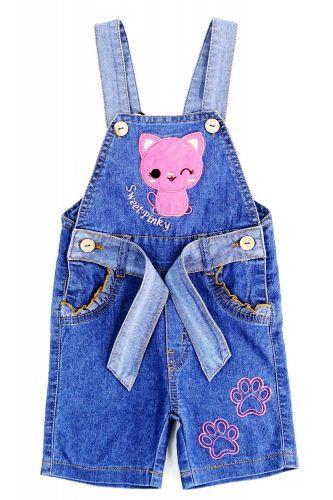 Полукомбинезон джинсовый для девочек Bonito Jeans с котёнком