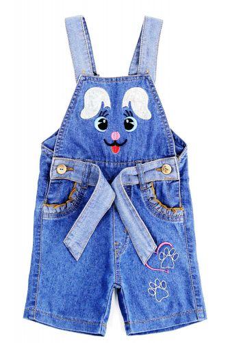 Полукомбинезон джинсовый для девочек Bonito Jeans с зайчонком