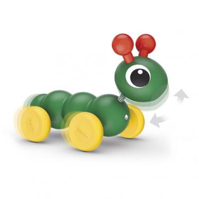 Деревянная игрушка BRIO  Гусеничка-каталка, с подвижной головой