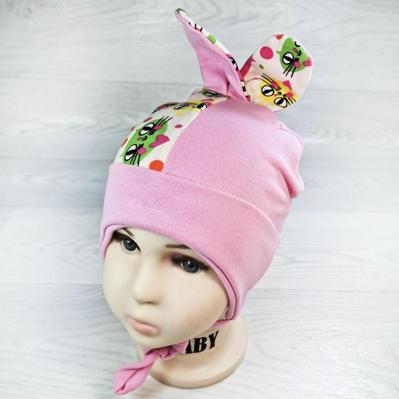вн1131-4747 Шапочка трикотажная двойная с ушками Котики розовый/розовый