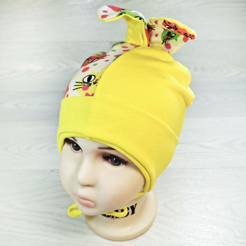 вн1131-1616 Шапочка трикотажная двойная с ушками Котики желтый/желтый