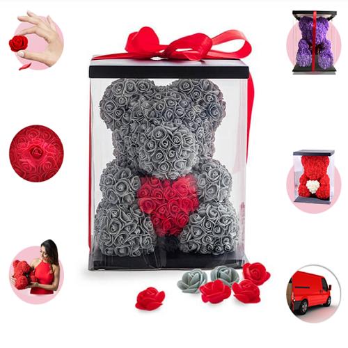 Красивый медведь из роз с сердцем в подарочной коробке, 40 см