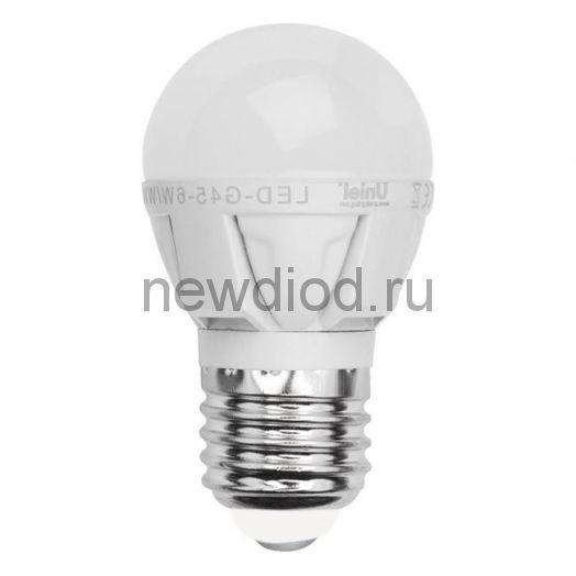 Лампа светодиодная LED-G45 ШАР 7W/WW/E27/FR 3000K яркая Uniel